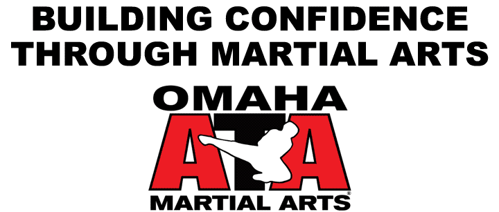 Omaha ATA Logo with figure doing jumping side Kick and Building Confidence Through Martial Arts text